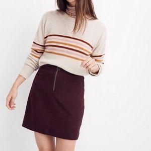 Madewell Burgundy zip front wool mini skirt